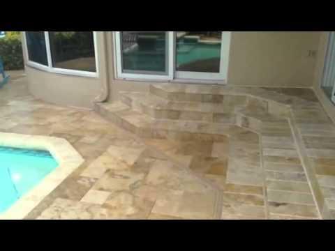 Pool Deck Travertine Install St. Petersburg, Florida - Final