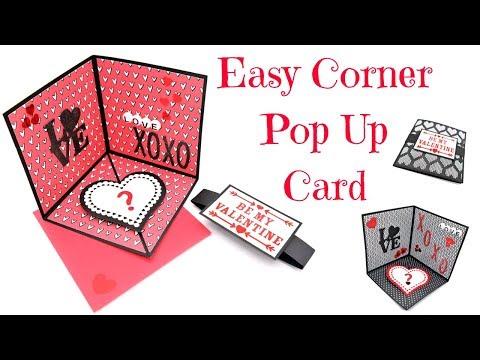 Easy Corner Pop Up Card   Valentine's Series 2018