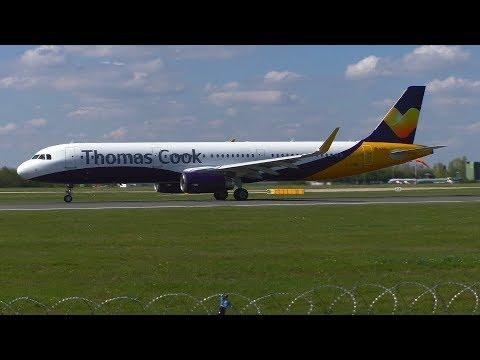 (Ex Monarch) Thomas Cook 'Hybrid' Airbus A321 Up Close Takeoff - Manchester Airport (MAN/EGCC)