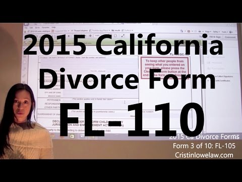 Filing California Divorce Forms: Form 2 of 10 the FL-110