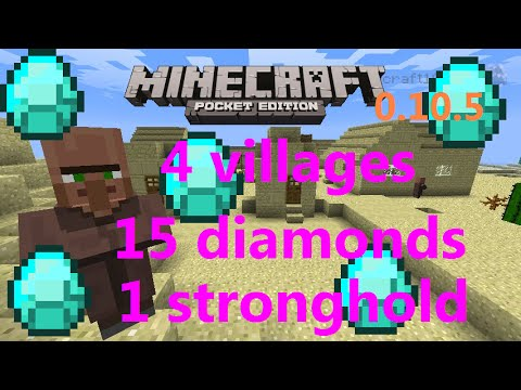 [MCPE 0.16.0]AMAZING 4 VILLAGES SEED WITH 15 DIAMONDS AND STRONGHOLD | MINECRAFT PE