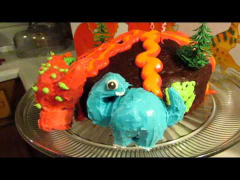 Volcano with Dinosaurs Cake.