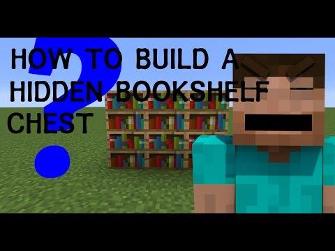 MINECRAFT- How To Make A Secret Hidden Chest In Bookshelf