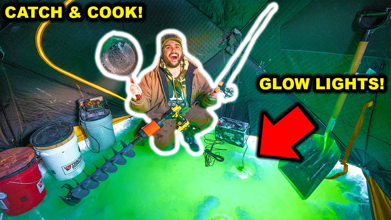 Ice Fishing My BACKYARD POND at NIGHT with GIANT GLOW LIGHTS!!! (Catch Clean Cook)