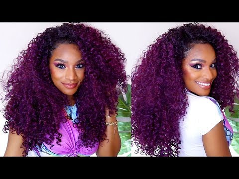 You need this Wig for Summer! Big Curly Plum Purple Hair #WIGWEEK 3