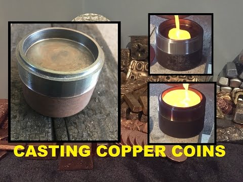 TRASH TO TREASURE MELTING SCRAP COPPER AND CASTING BIG COIN BLAN WITH HOMEMADE STEEL MOLD 1080p