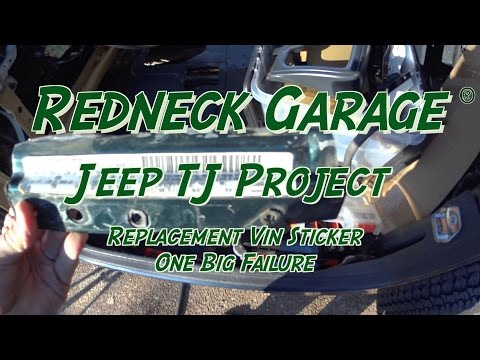 Jeep Wrangler TJ Project - Vin Tag - vehiclevinstickers - Sux