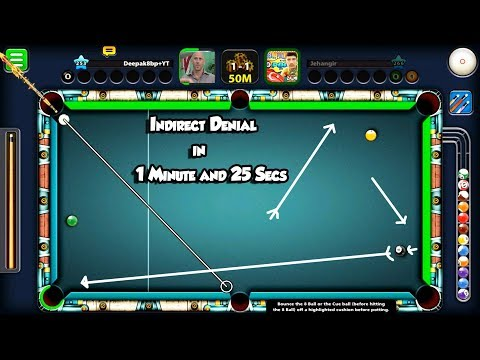 8 Ball Pool Indirect Denail in 1 Minute And 25 Sec Trickshot/indirect