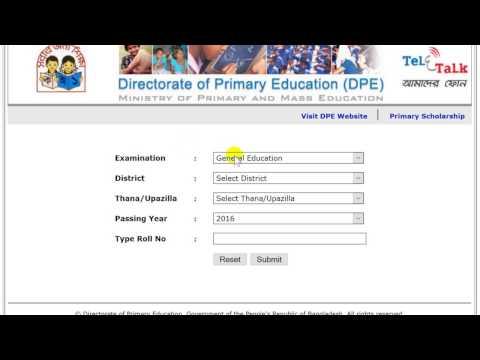 PSC Result 2017 - How to get PSC exam Result 2017 Online | dperesult.teletalk.com.bd