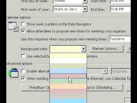 Microsoft Office Outlook 2003 Change the background color of your Calendar