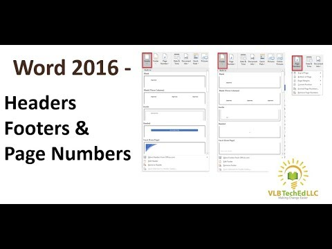 Word 2016 - Working with Headers, Footers and Page Numbers
