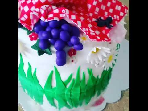 Fondant icing cake picnic ant flowers birthday party cake