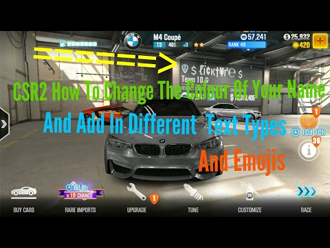 How to change the color of your name, and do fancy text! And emojis!! Csr2 Racing