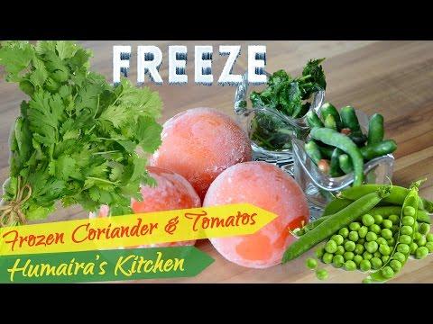 Freeze Dhaniya | Coriander & Tomatos & Pudina Chutney - Green Peas Preserve - Recipe Urdu | Hindi