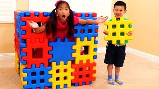 Download Wendy Pretend Playing with Colored Toy Blocks Video