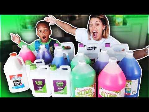 1 GALLON OF ELMER'S FLUFFY GLUE ALL VS 1 GALLON OF ELMER'S FLUFFY SCHOOL GLUE - MAKING GIANT SLIMES