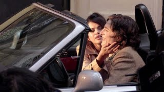 Selena Gomez kisses her co-star on the Movie set of the new Woody Allen movie in New York City