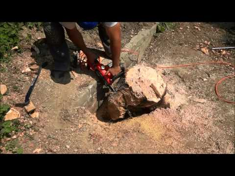 Cutting Up A Large Tree Stump To Remove It