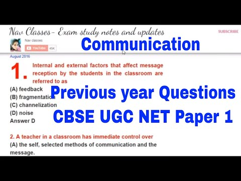 Communication 2016, 17 previous year Questions CBSE UGC NET | in Hindi