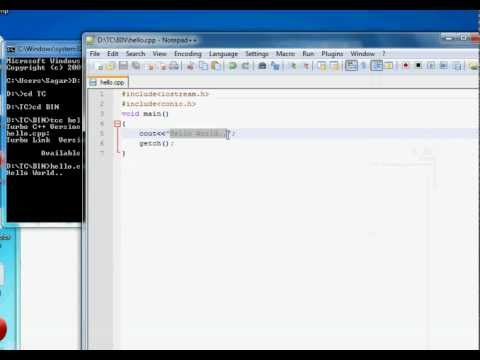 How to write c or c++ programs in notepad and run it.....