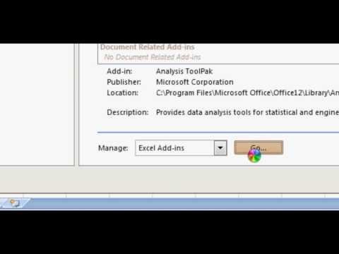 Enable Analysis Toolpak in Office 2007 Excel