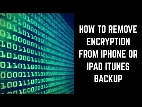 How to Remove Encryption from Apple iPhone or iPad iTunes Backup