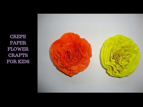 Crepe paper flower crafts for kids. крепированная бумага цветы