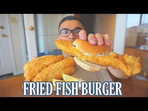 Fried Fish Burger Recipe   MUKBANG   QT