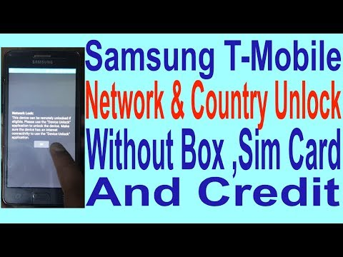 Samsung T-Mobile Network & Country Unlock Without Box, Sim Card & Credit.