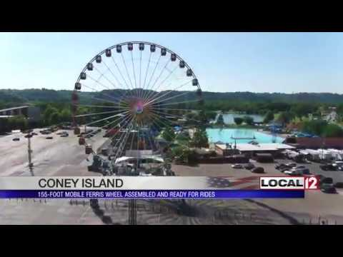 155-foot mobile Ferris Wheel assembled and ready for rides at Coney Island
