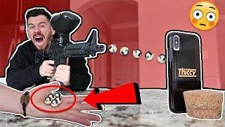 DIY MIRROR POLISHED JAPANESE ALUMINUM FOIL PAINTBALLS VS. iPhone X Experiment!! (1000+ MPH)