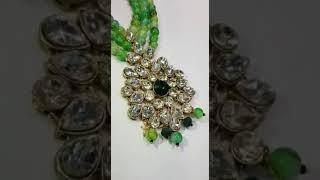 Green Emerald N Kundan Polki Mala @ Factory Rates