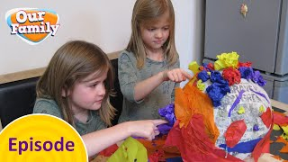 Gracie and Myla make a Piñata