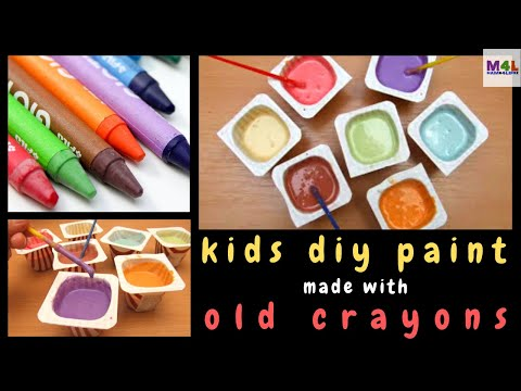 How to make home made paint with old crayons for the kids to use!