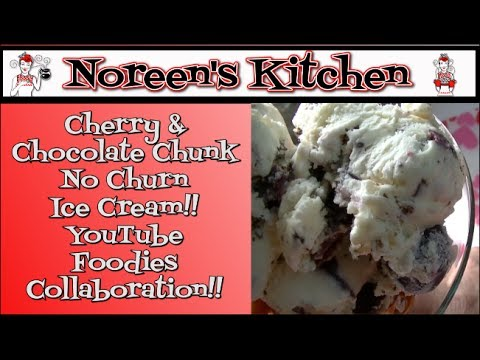 Cherry, Chocolate Chunk No Churn Ice Cream!  Valentine's Recipe!