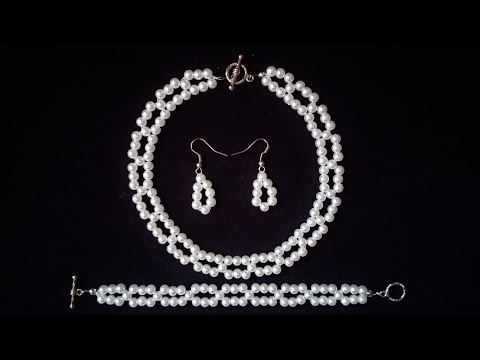 Pearl Jewelry Pattern. How to Make White Pearl Bead Bracelet, Necklace, Earrings