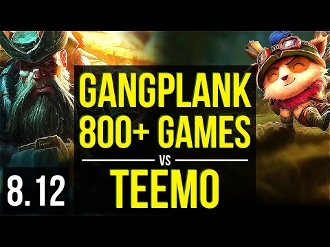 GANGPLANK vs TEEMO (TOP) ~ 800+ games, KDA 9/2/17, Unstoppable ~ NA Master ~ Patch 8.12