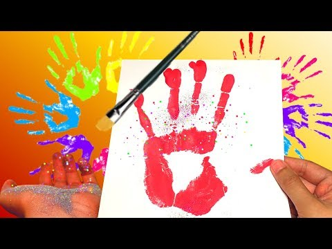 learn colors with handprints and glitter