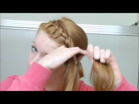 French Braided Headband into Messy Bun