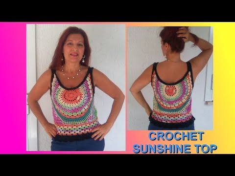 CROCHET CIRCLE TOP SUNSHINE ANY SIZE TUTORIAL easy and quick to do