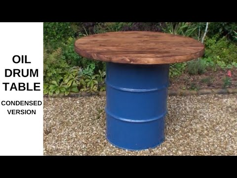 Condensed Version - Recycled Oil Drum Scaffold Board Table Up-cycle