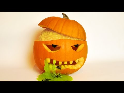 Halloween Pumpkin Carving Idea with Brain and Slime!