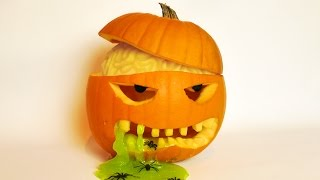 Halloween Pumpkin Carving Idea With Brain And Slime