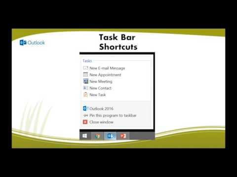Taskbar Shortcuts in Outlook 2016