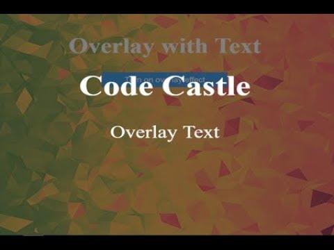 Html Css Text Overlay, Html Css Image Overlay