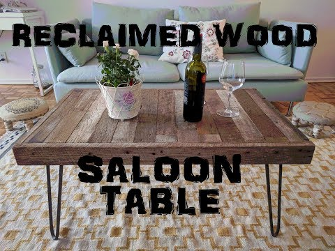 Reclaimed wood saloon table with iron legs