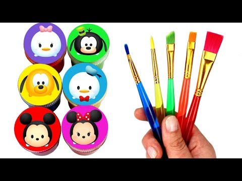 Disney Mickey Mouse Tsum Tsum Drawing & Painting with Surprise Toys Minnie Daisy Donald Duck Goofy