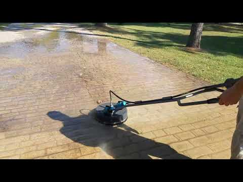 Driveway stamped  concrete surface cleaning