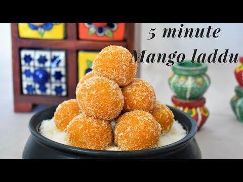 5 मिनट में 5 चीजों से बनाये आम लडडू   Coconut Mango Laddu   Aam Laddoo   Aam Modak - Food Connection