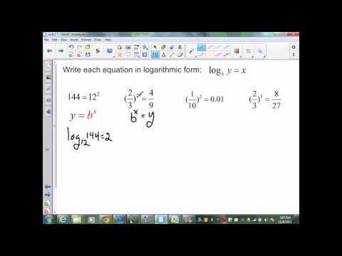 sec8 3 Alg II part 1 log equations, evaluating, and pH